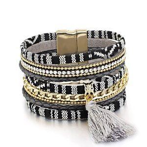 Jewelry - BOGO SALE Black Striped Gold Chain Wrap Bracelet